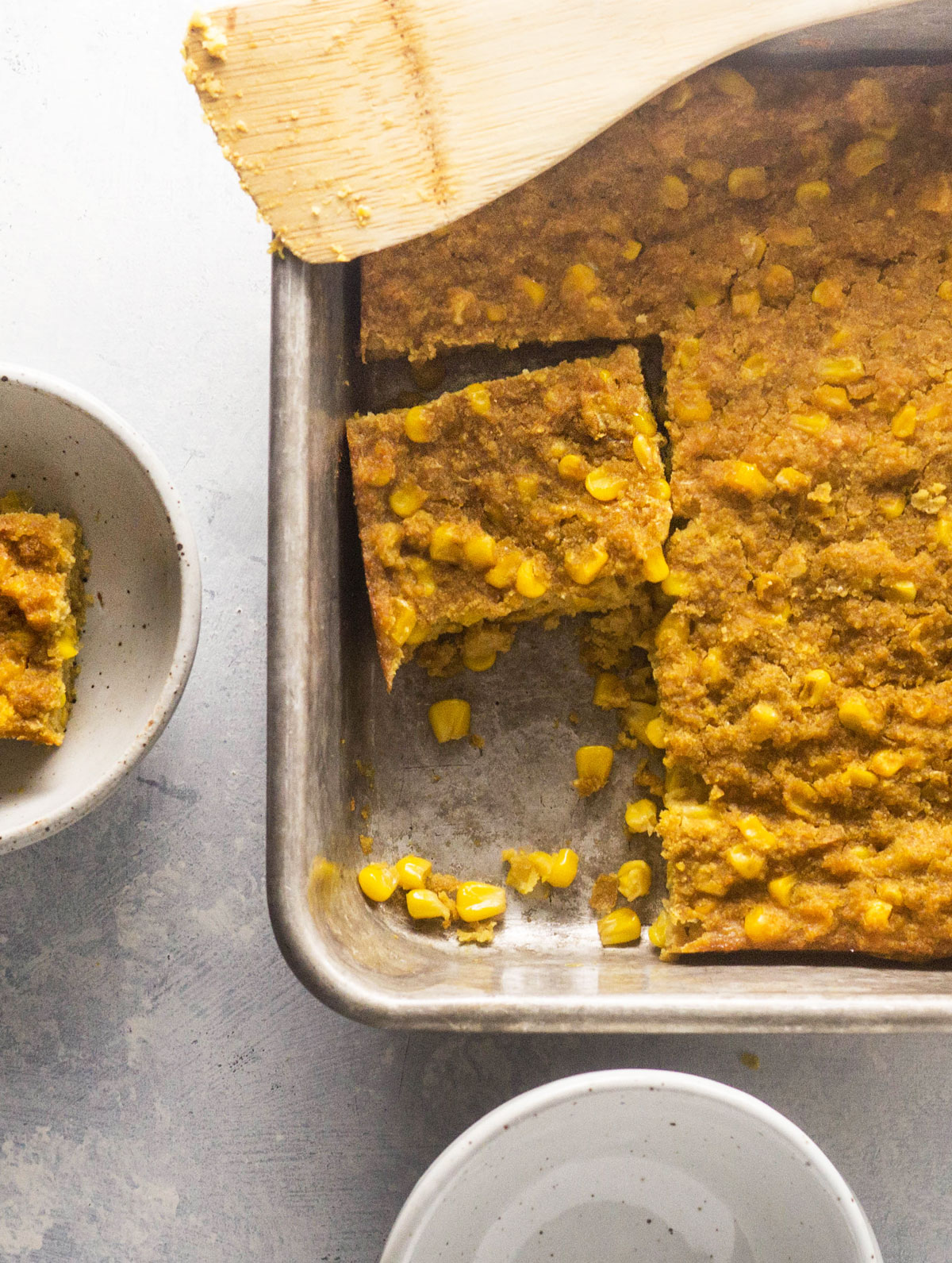 vegan corn casserole in a baking pan