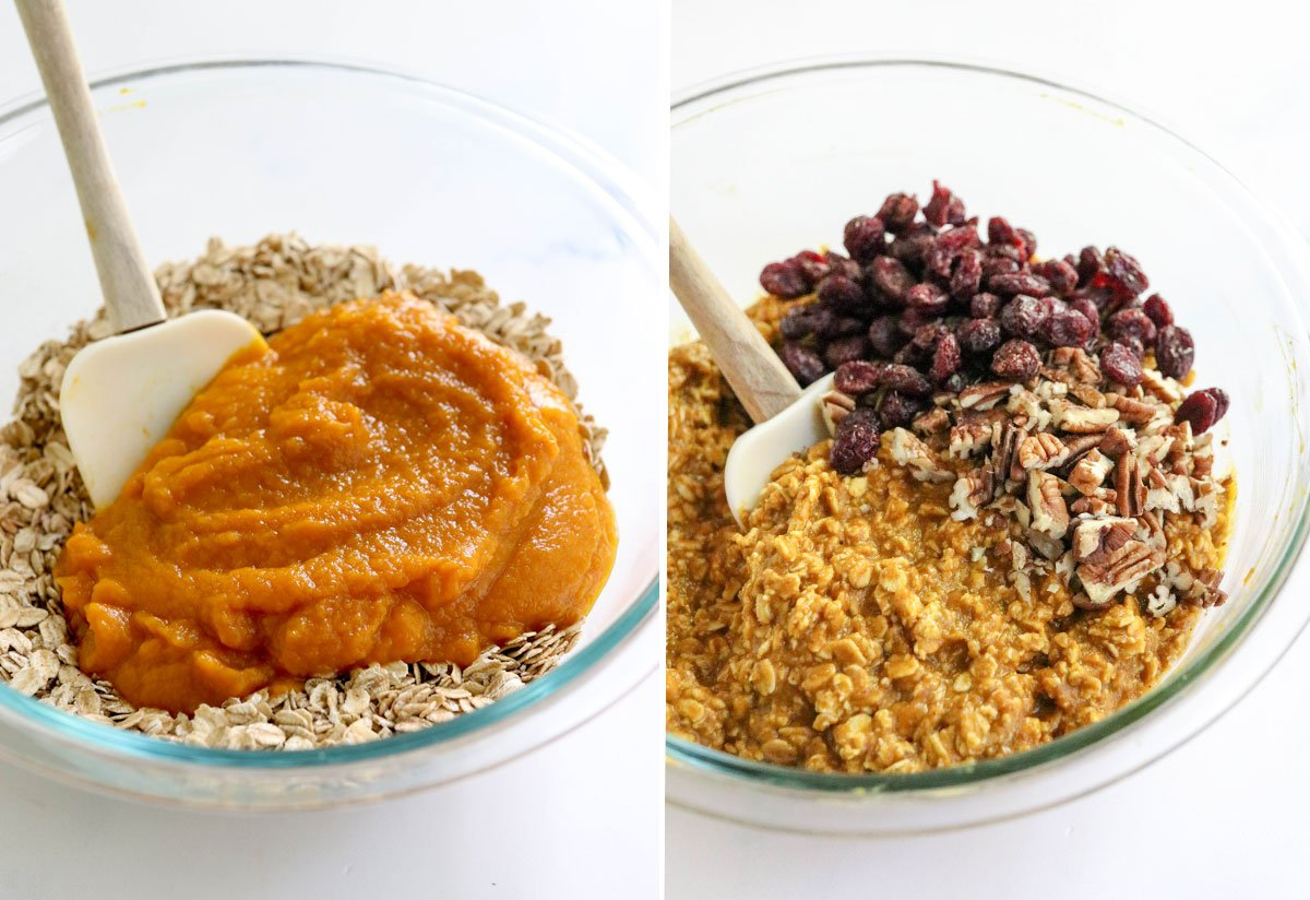 pumpkin baked oatmeal ingredients in bowl
