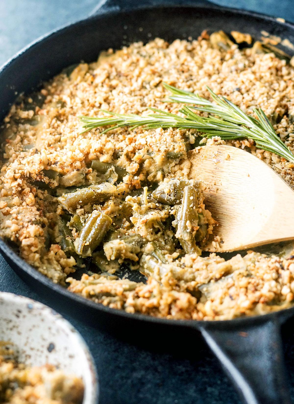 skillet of green bean casserole