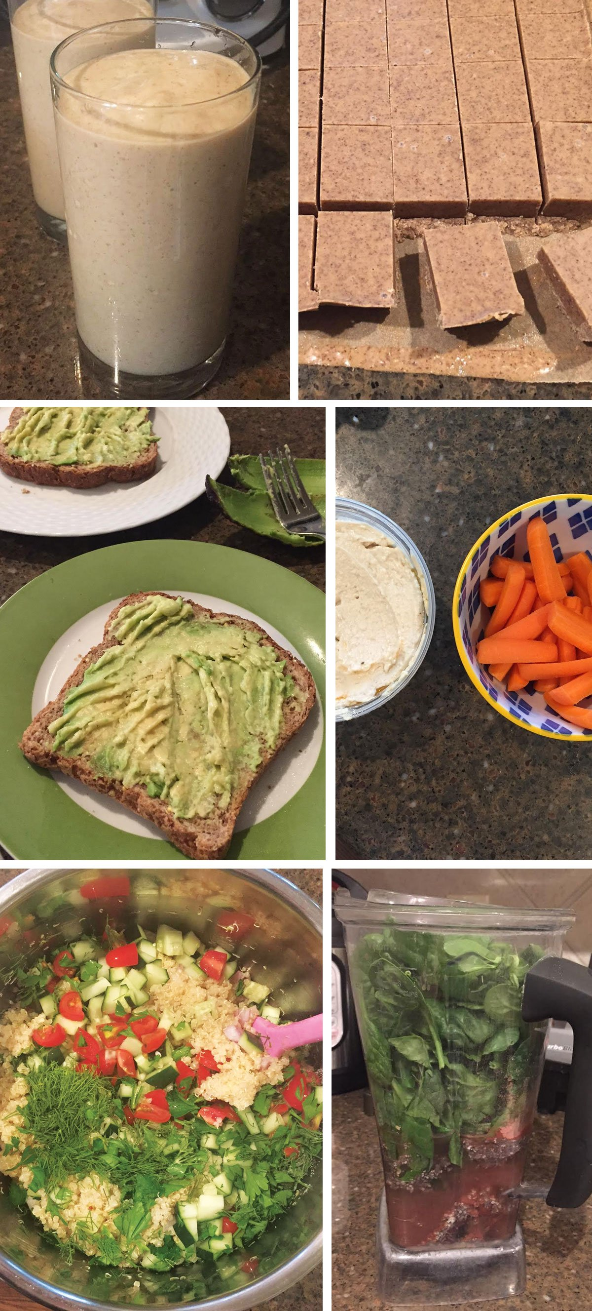 apple pie a la mode smoothie in a glass, almond butter fudge, avocado on toast, carrots and hummus, and quinoa pasta salad