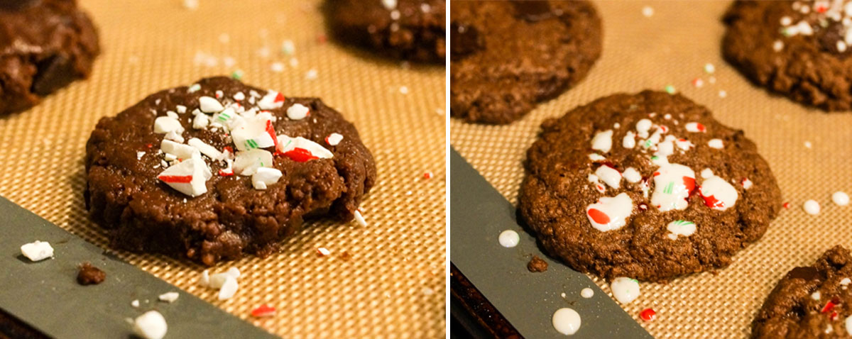 chocolate mint cookie cookies with candy cane pieces on top