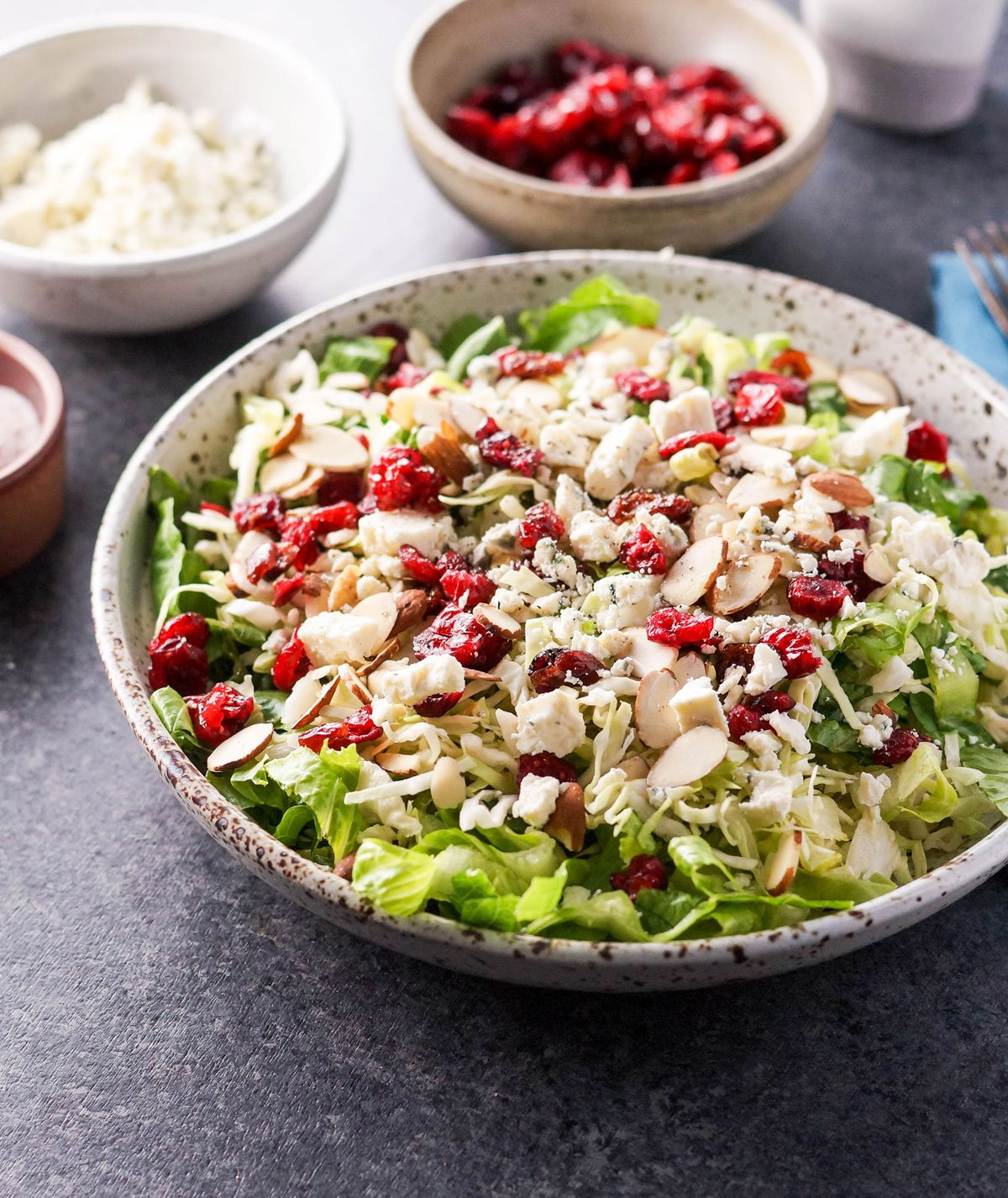 bowl of holiday salad with dried cranberries and cheese on top