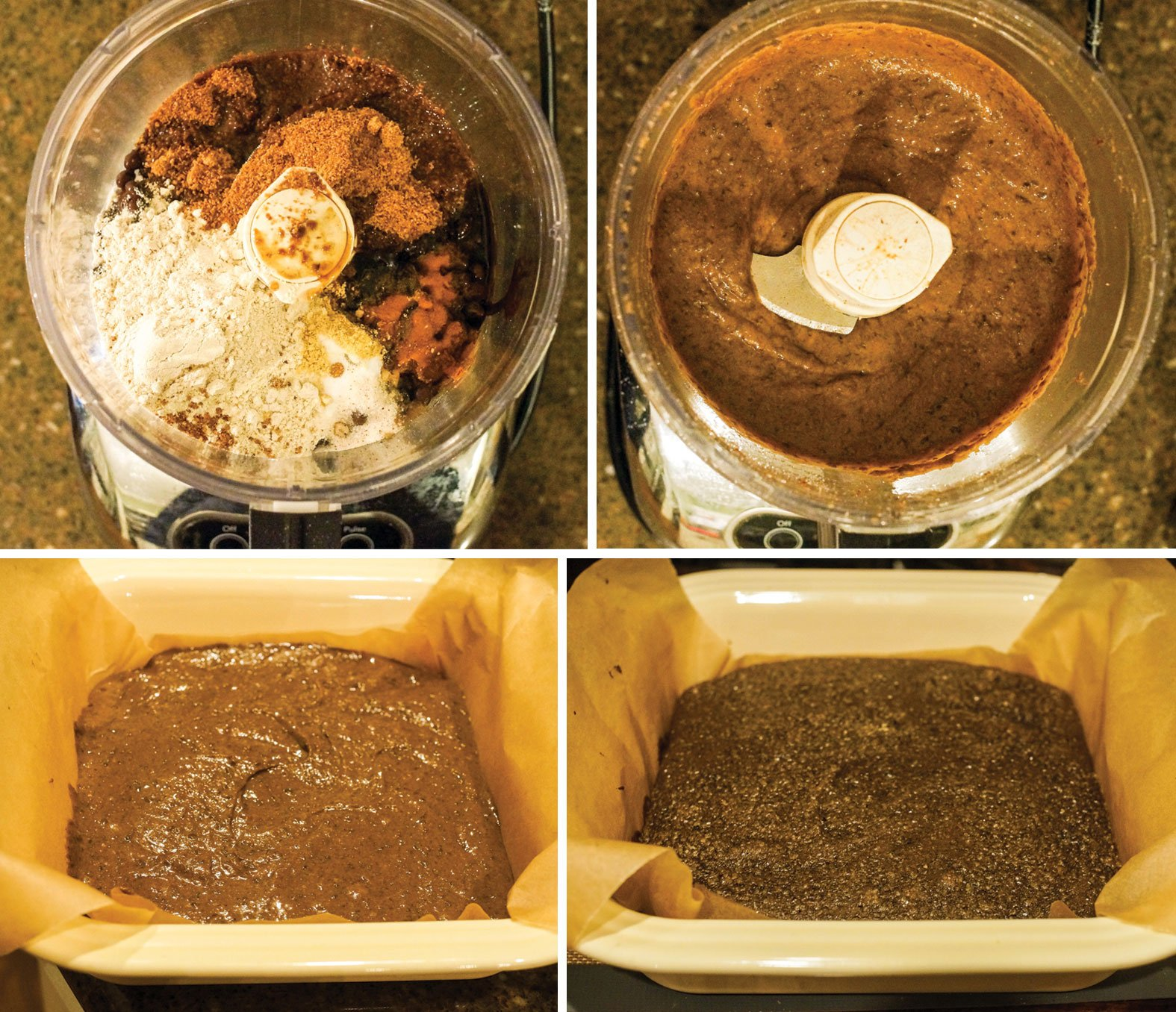 black bean gingerbread mix in a food processor and in a baking pan
