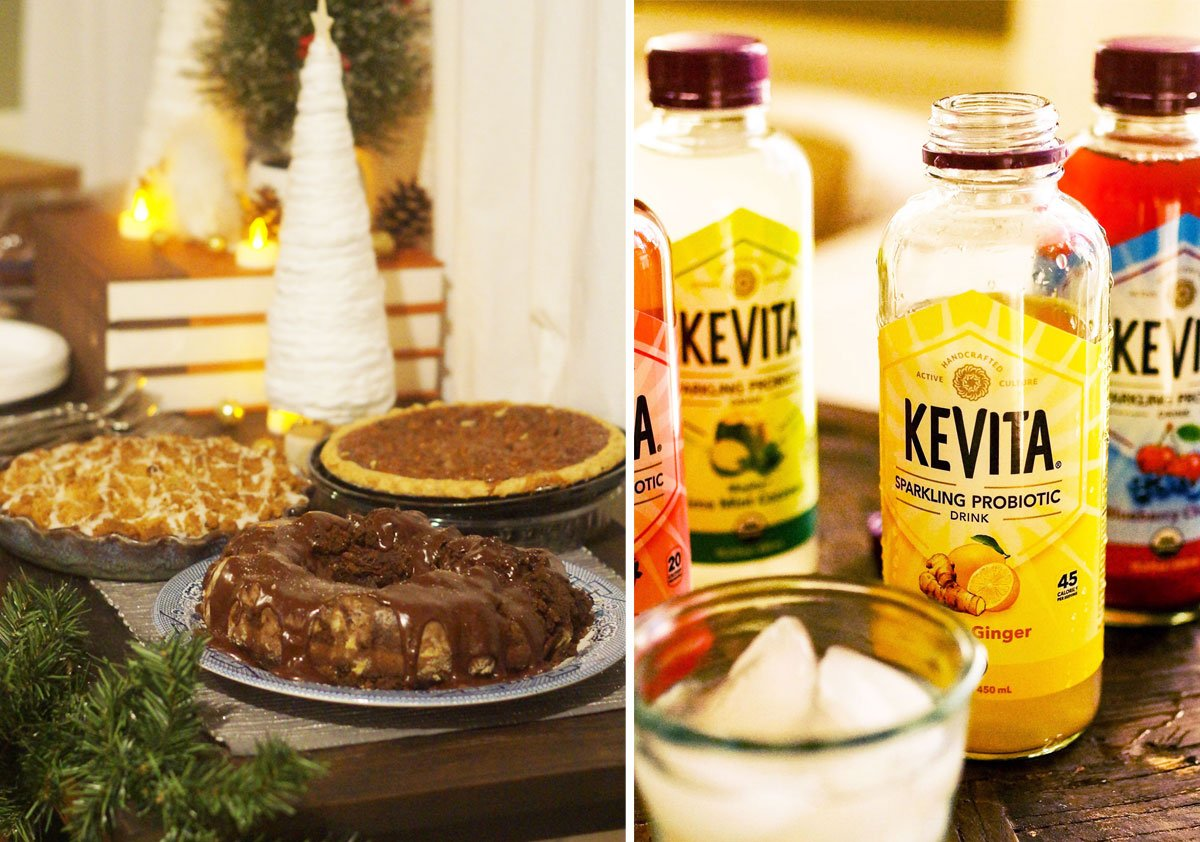 kevita sparkling probiotic drink with holiday desserts