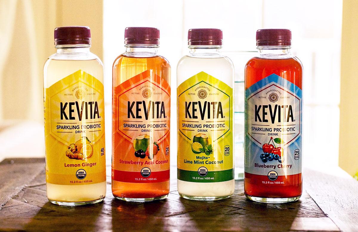 four different kevita bottles