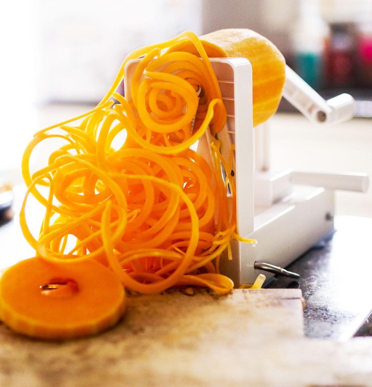 butternut pasta in a spiralizer