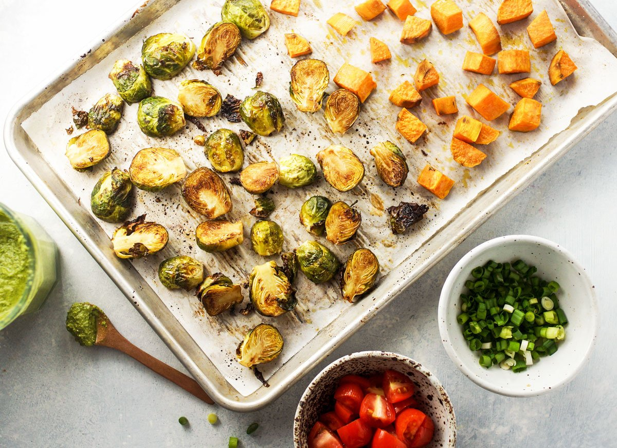 roasted vegetables on a pan