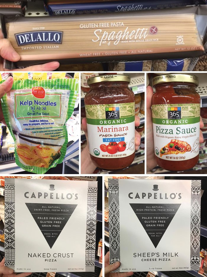 pasta, pasta sauce, pizza sauce, and pizza crust from whole foods