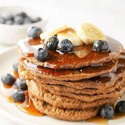 vegan buckwheat pancakes with blueberries and banana