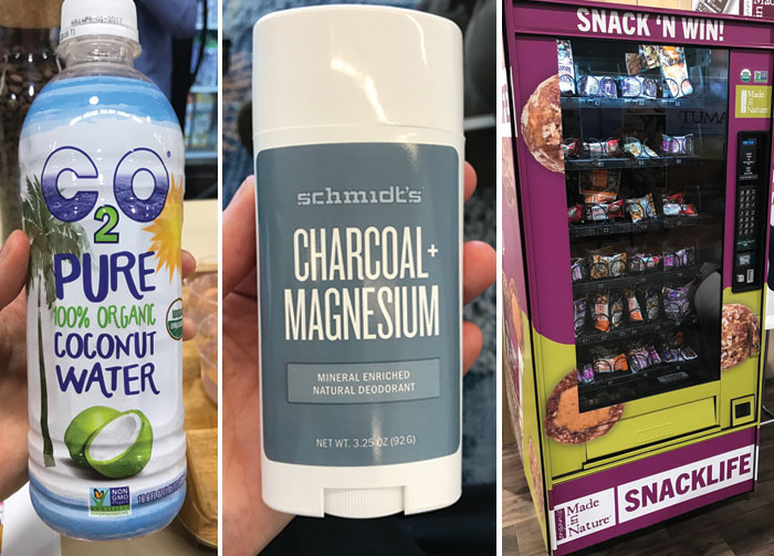 coconut water, charcoal magnesium, and snack vending machine