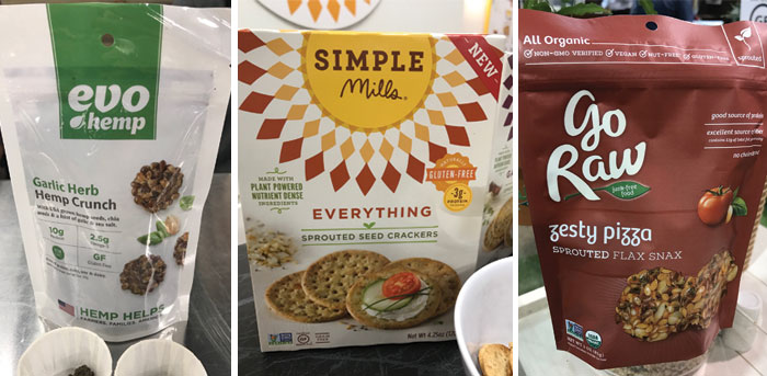 garlic herb hemp crunch, everything cracker, and a bag of go raw snacks