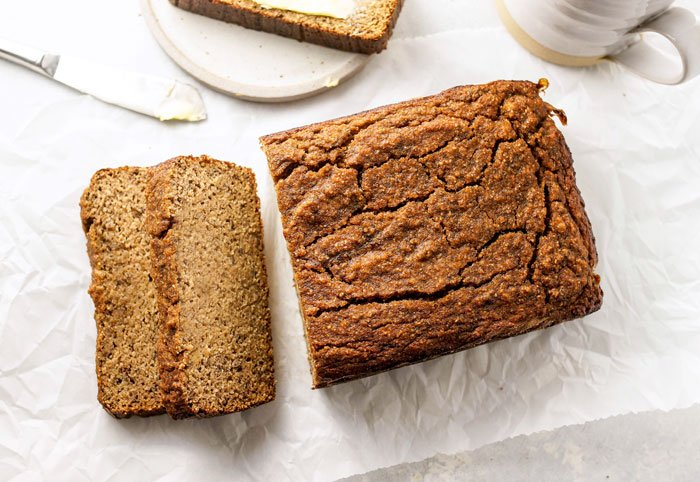 slices of coconut flour banana bread