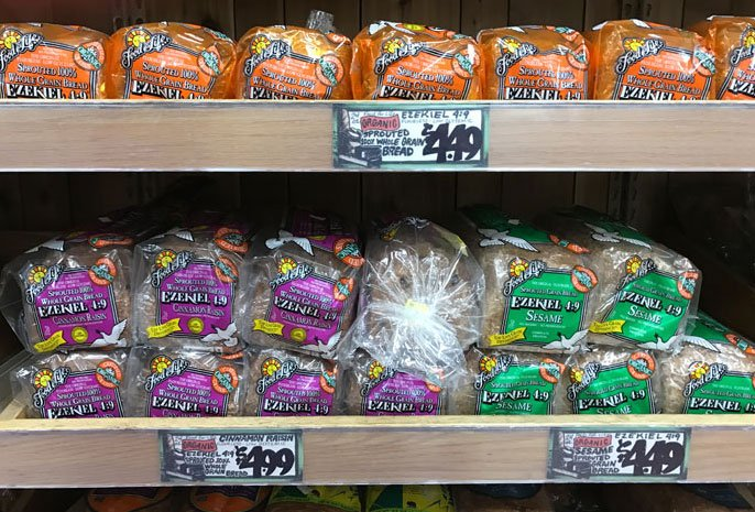 shelves of bread at trader joe's