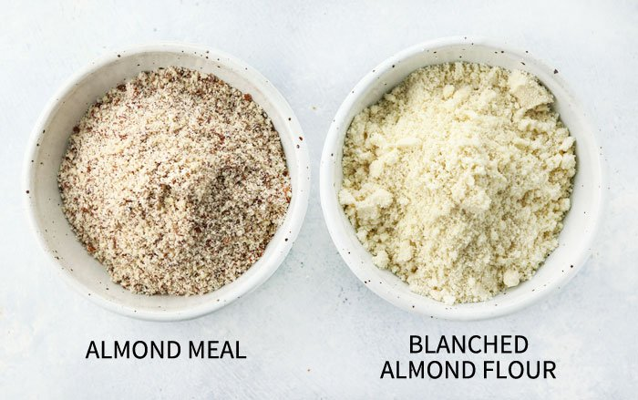 bowls of almond meal and blanched almond flour