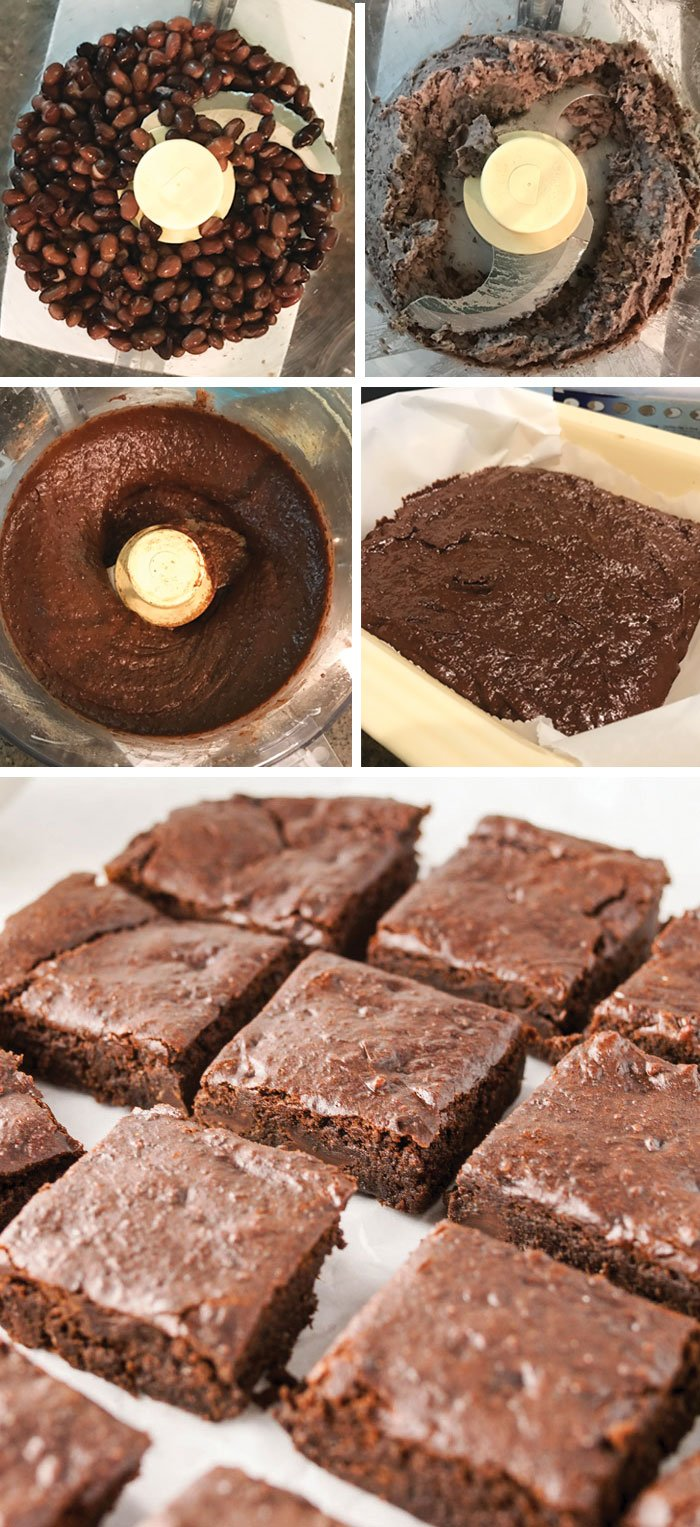 flourless black bean brownie batter in a food processor and the finished cut brownies