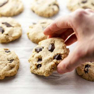 hand holding almond flour cookie