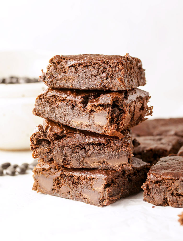 flourless black bean brownies stacked on eachother