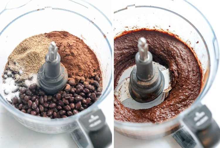black bean brownie ingredients in food processor