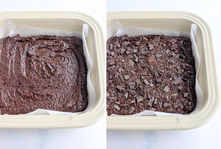 brownies in parchment lined baking dish