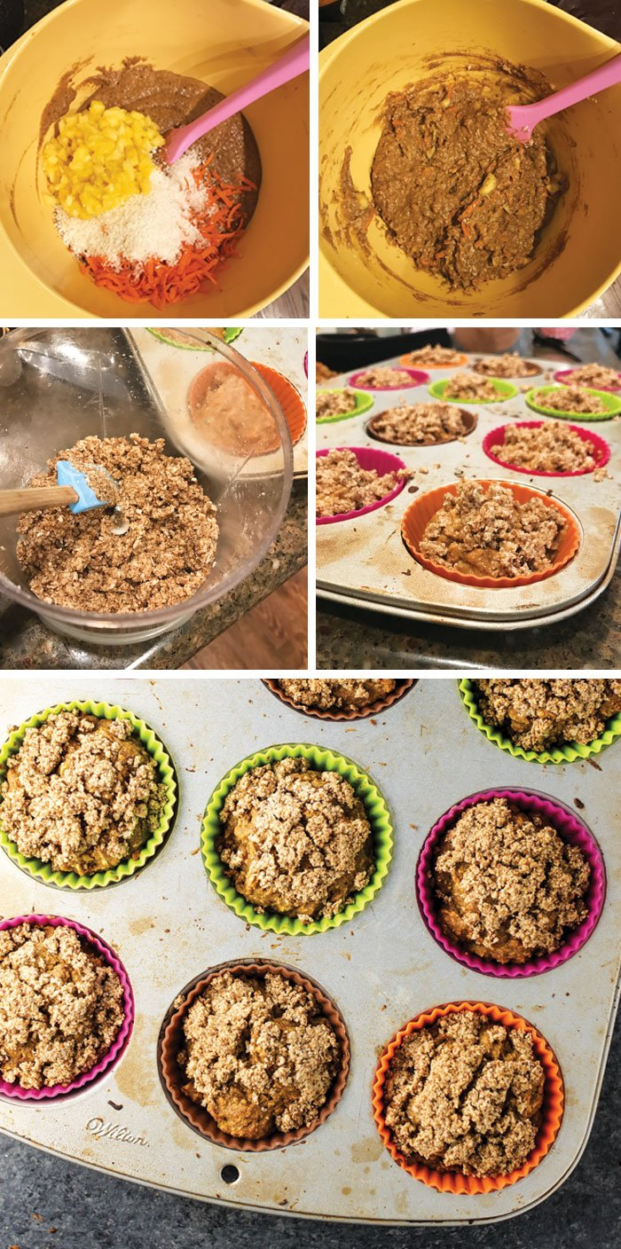 gluten-free carrot cake muffin batter in a mixing bowl and in a muffin tin