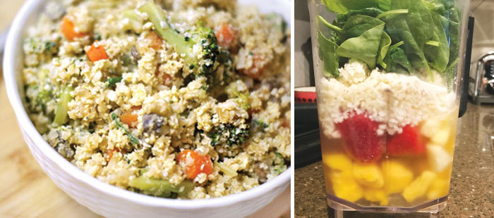 cauliflower fried rice and a smoothie with cauliflower