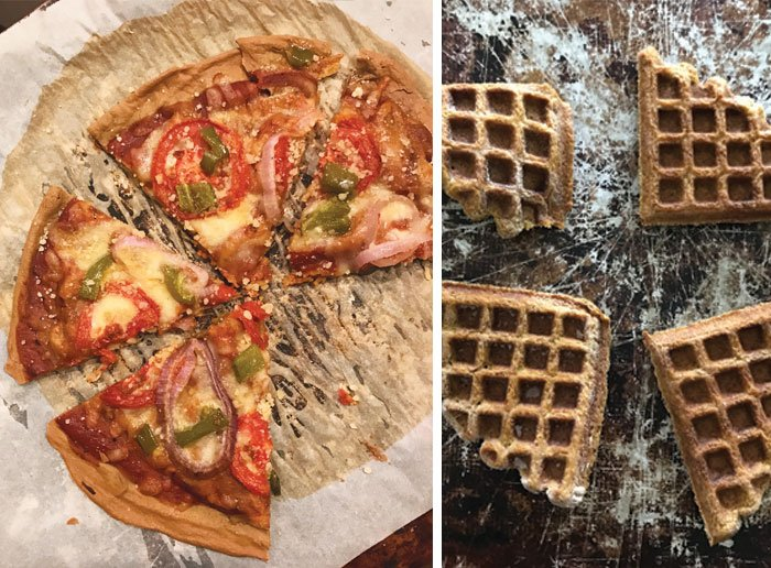 quinoa pizza and freezer waffles