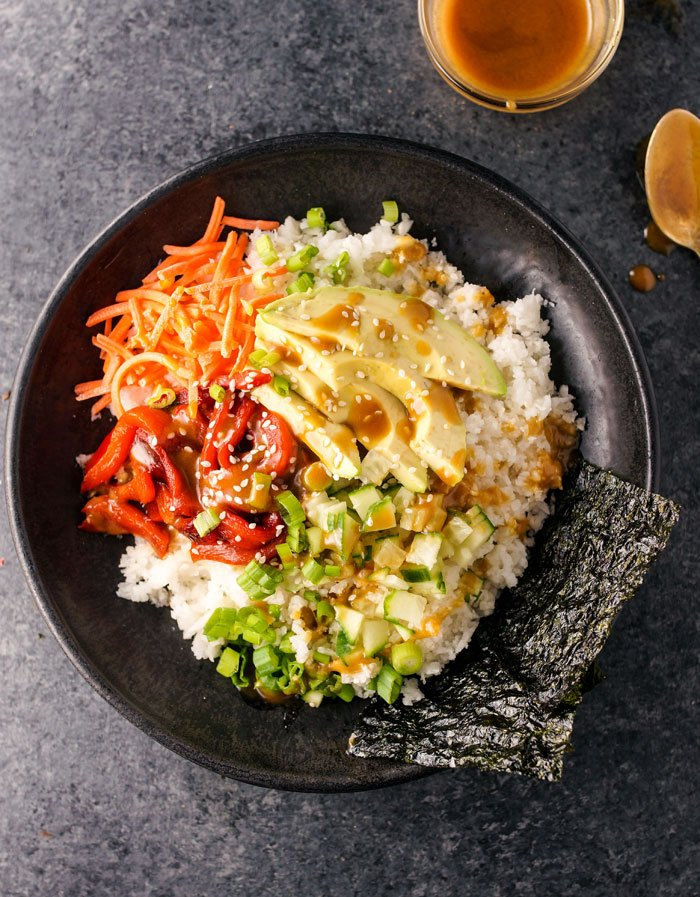 vegan sushi bowl with soy-ginger dressing