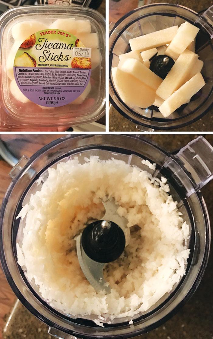 jicama sticks in a food processor