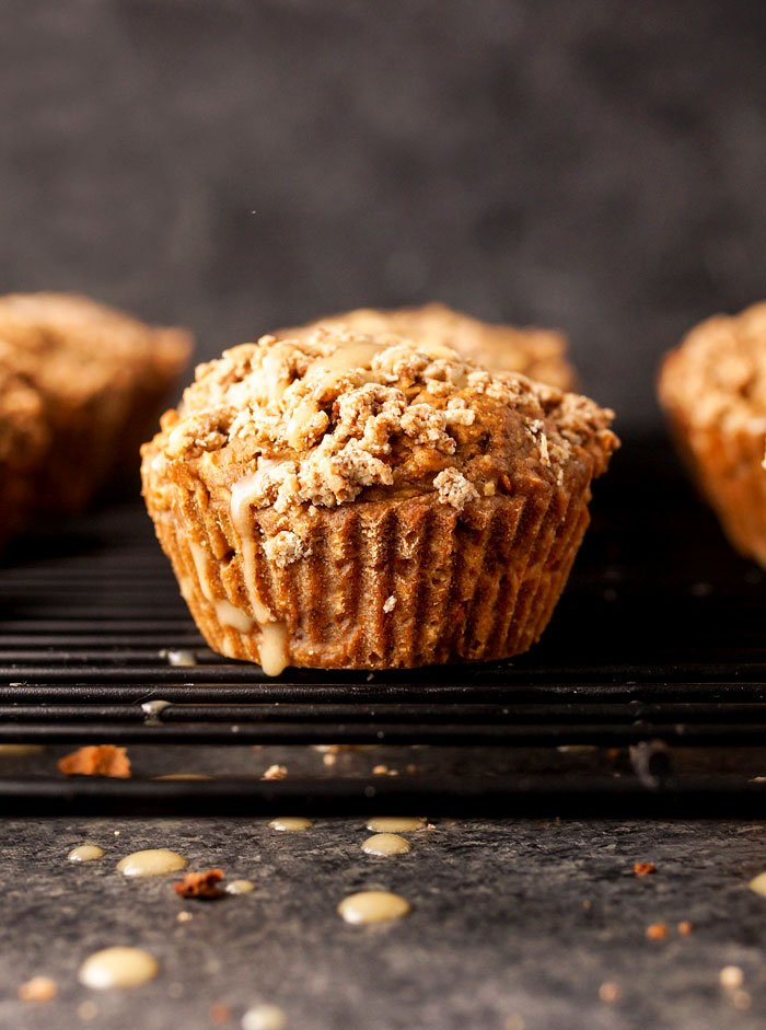 gluten-free carrot cake muffin on a cooling rack