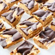 peanut butter fudge with chocolate topping