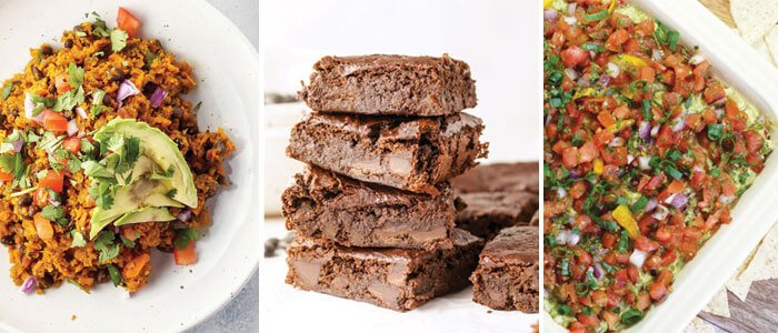 black bean burrito bowl, stack of black bean brownies, Mexican layer dip