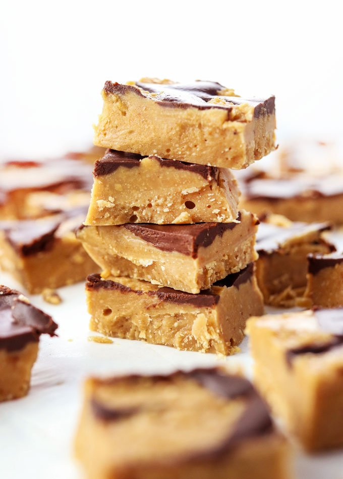 stacked vegan peanut butter chocolate fudge