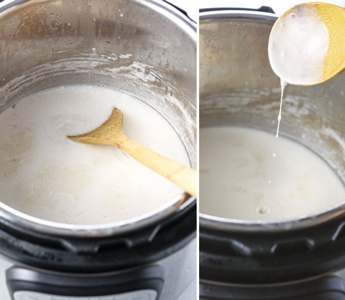 spoon in runny coconut milk yogurt in the Instant Pot