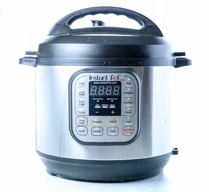 instant pot 7-in-1 pressure cooker isolated on white background