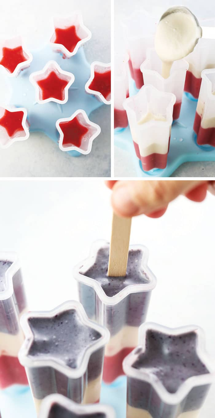 healthy red white and blue popsicles in a star ice pop mold