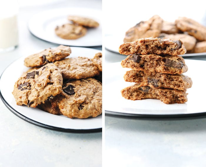 chocolate chip cookies made with date paste
