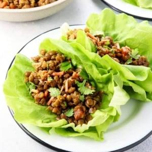Thai lettuce wrap full of split pea filling