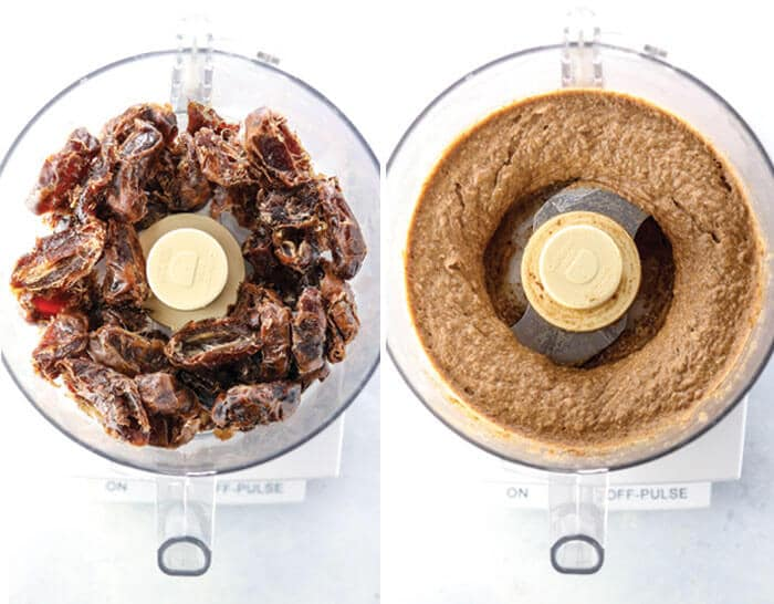 dates in a food processor, blended to make date paste