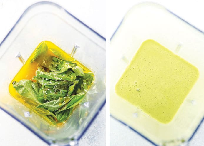 fresh basil, olive, oil, and orange juice in a blender, with the after photo of blended salad dressing