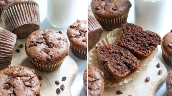 finished muffins cut in half to show texture