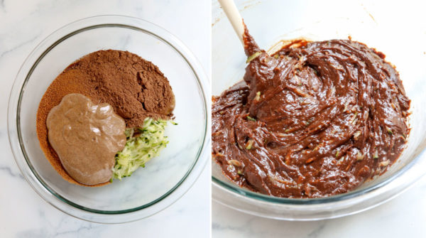 mixing batter until thick and glossy