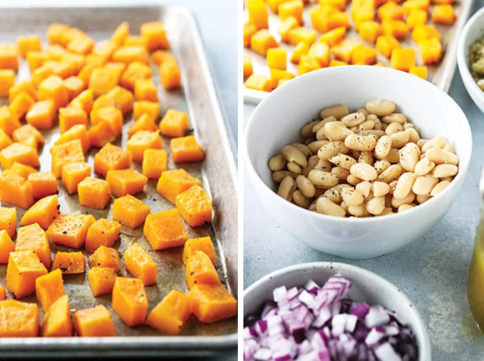 roasted butternut squash and a bowl of white beans