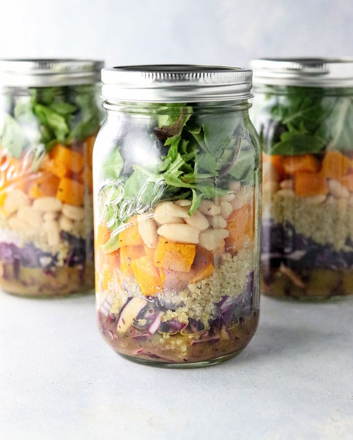 mason jar salads with butternut squash