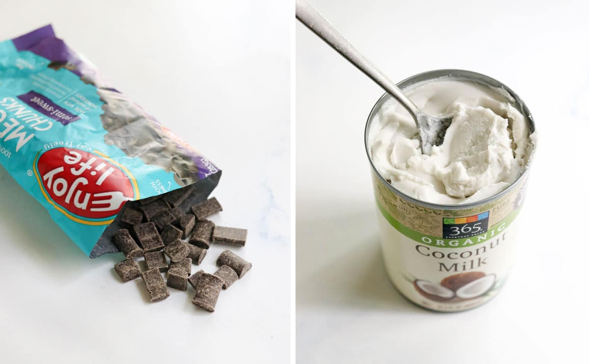 vegan chocolate chips and coconut cream in a can
