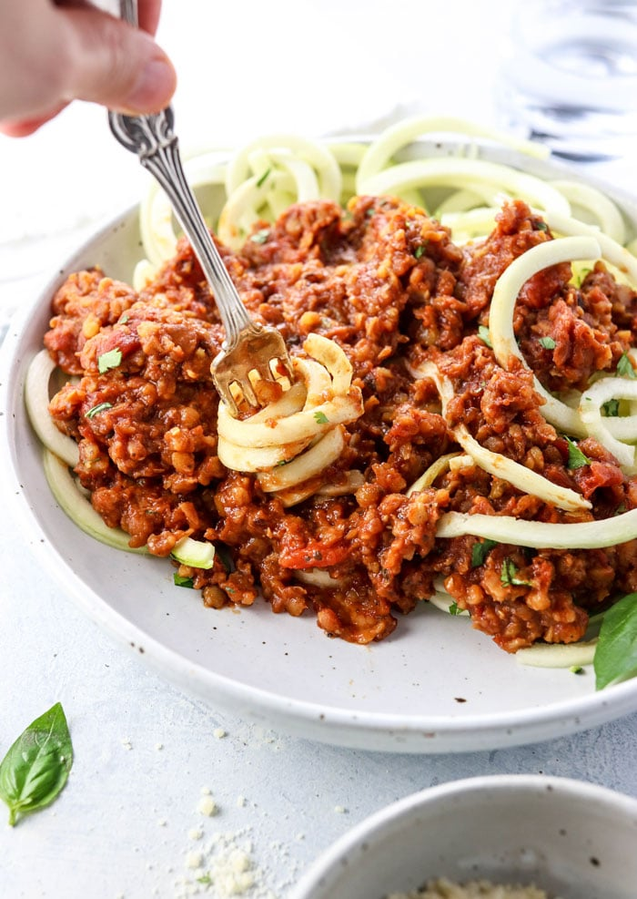 healthy zucchini noodles with red lentil bolognese recipe