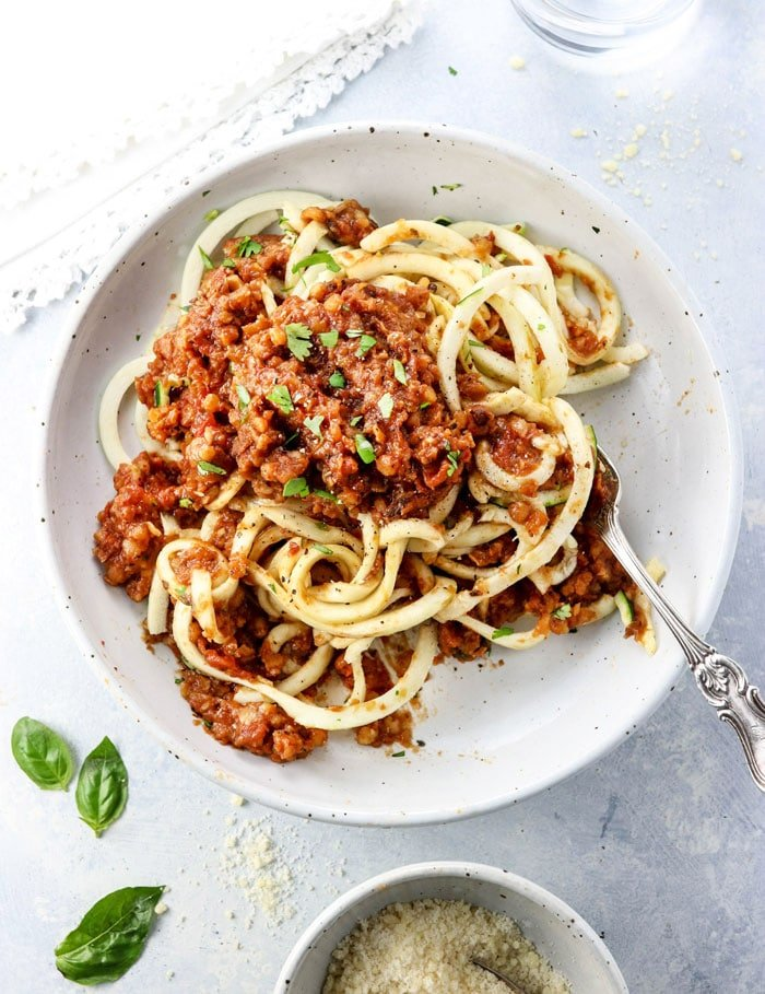 vegetarian bolognese recipe over spiralized zucchini noodles