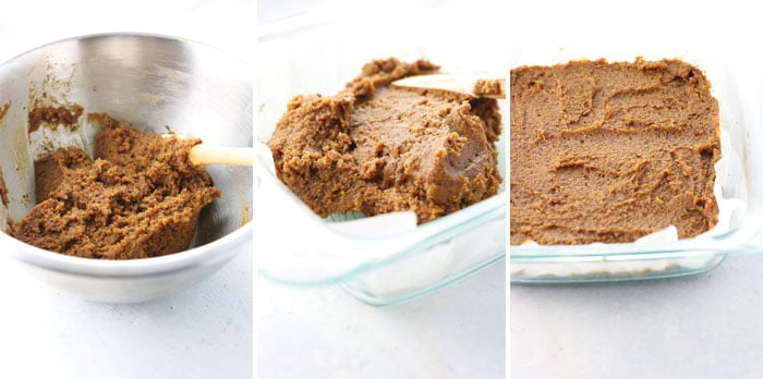 vegan pumpkin bar batter made with almond flour and no eggs