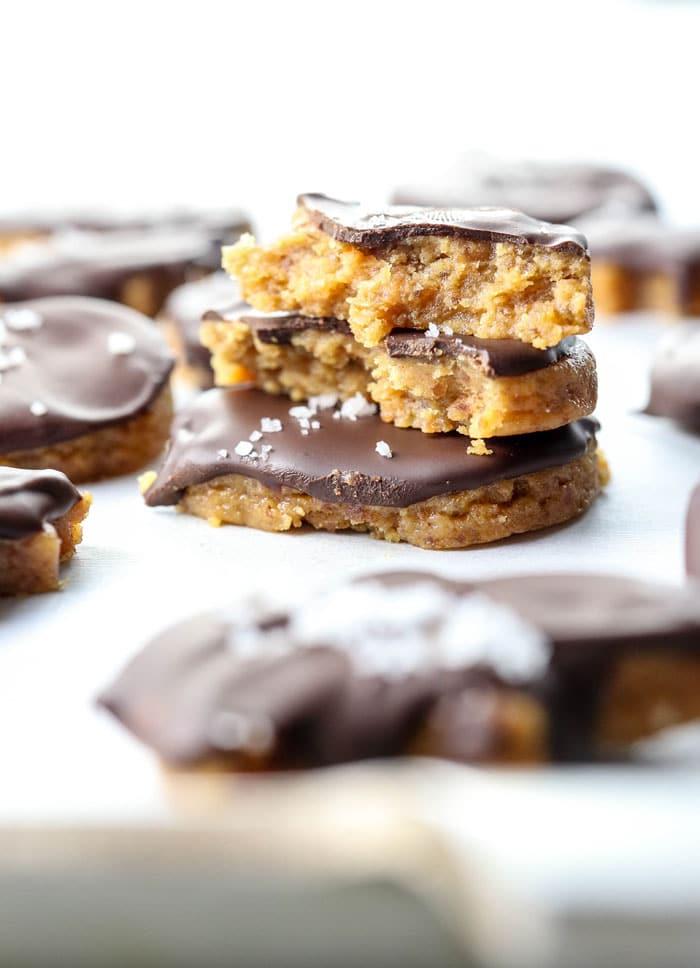 healthy copycat reese's peanut butter pumpkins