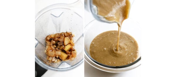 gravy ingredients in blender and smooth