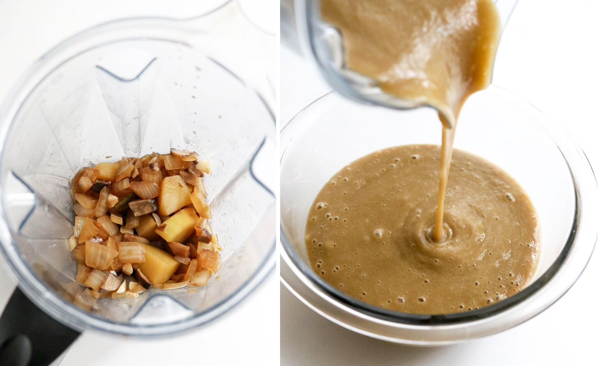 gravy ingredients pureed in blender